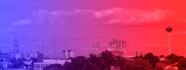 San Antonio Skyline blue to red