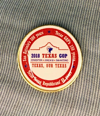 The official commemorative pin of the convention - as created and provided by the Young Republicans, thanks to the support of SREC Mark Dorazio